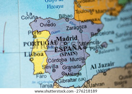 Bucharest, Romania - May 8, 2015: Illustrative editorial of Spain on a geographical globe.