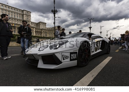 BUCHAREST, ROMANIA - MAY 7: Lamborghini on parade on May 7, 2016 in Bucharest. The car is part of the Gumball 3000 Dublin to Bucharest Charity Grid Rally. - stock photo