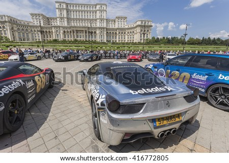 BUCHAREST, ROMANIA - MAY 7: Mirror paint Ferrari 458 on display in Constitution Square on May 7, 2016 in Bucharest. The car is part of the Gumball 3000 Dublin to Bucharest Charity Grid Rally. - stock photo
