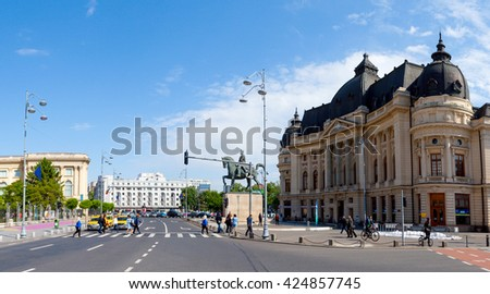 Aerial Panoramic View Central Bucharest Romania Stock