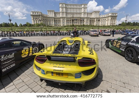 BUCHAREST, ROMANIA - MAY 7: Porsche 918 Spyder on display in Constitution Square on May 7, 2016 in Bucharest. The car is part of the Gumball 3000 Dublin to Bucharest Charity Grid Rally. - stock photo