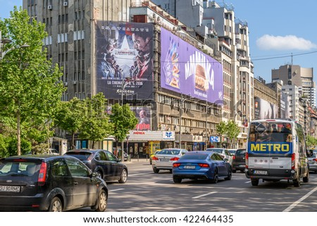BUCHAREST, ROMANIA - MAY 11, 2016: Rush Hour On Gheorghe Magheru Boulevard Of Bucharest, One Of The Most Expensive Commercial Streets In The World.
