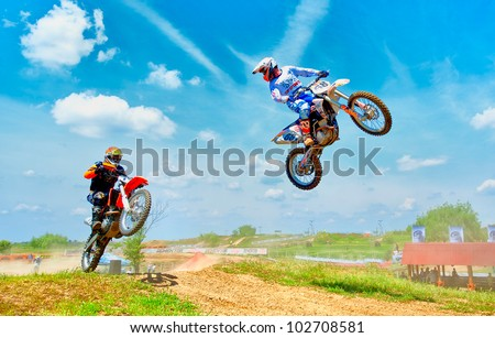 BUCHAREST, ROMANIA - MAY 14: Unknown riders participates at the third of the National Endurocross Championship, May 14, 2011 at Ciolpani, Bucharest, Romania - stock photo