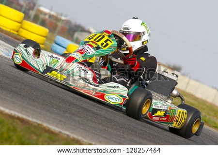 BUCHAREST, ROMANIA - NOV. 11: Gabriel Tomescu, number 5, competes in Karting Cup Romania, on november 11, 2012 in Bucharest, Romania.