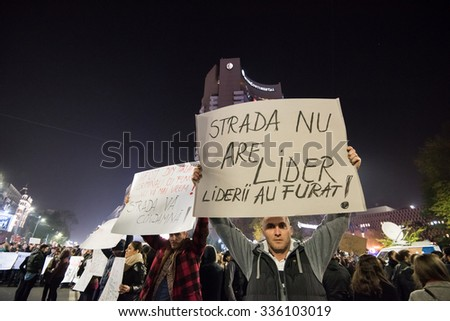 Bucharest, Romania - November 5, 2015 - Bucharest sees third day of protests at University Square against the Romanian corruption. - stock photo