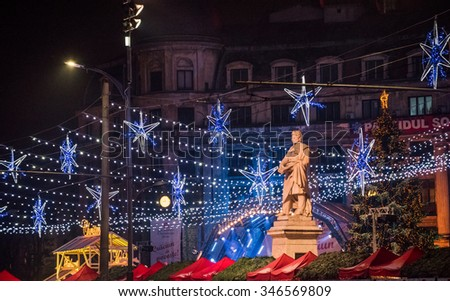 Bucharest, Romania - November 30, 2014: Christmas Market at the University Square, in Bucharest downtown.