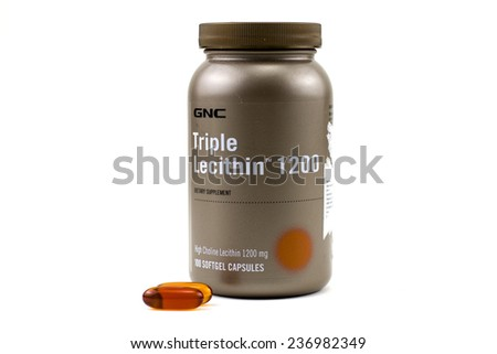 BUCHAREST, ROMANIA - November 26,2014:GNC Triple Lecithin 1200 mg.General Nutrition Corporation (GNC) is a Pittsburgh, Pennsylvania-based American commercial enterprise focused on the retail sale.