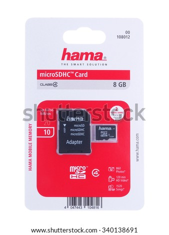 BUCHAREST, ROMANIA - NOVEMBER 15, 2015. Hama micro SDHC card 8Gb Class 4 and adapter. Hama is represented by 17 subsidiaries and numerous commercial agencies in Europe and beyond.