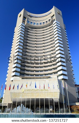 BUCHAREST, ROMANIA - NOVEMBER 04: The Intercontinental Hotel facade on November 04, 2011 in Bucharest, Romania. It is a five star hotel, 77 m tall and has 25 floors, containing 283 guest rooms.