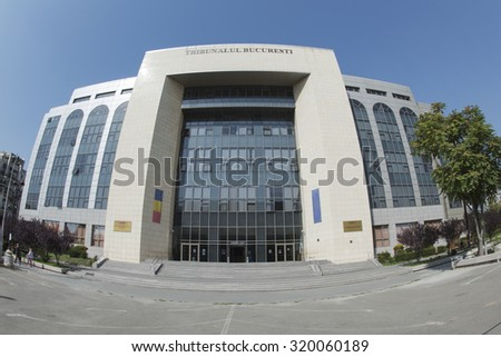 BUCHAREST, ROMANIA - September 18, 2015 Facade of the Bucharest Courthouse placed on Unirii Boulevard. - stock photo