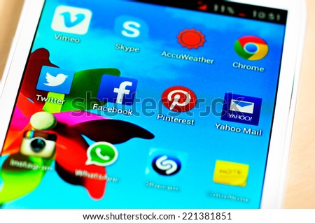 BUCHAREST, ROMANIA - SEPTEMBER 20, 2014: Social media are trending and both business as consumer are using it for information sharing and networking - stock photo