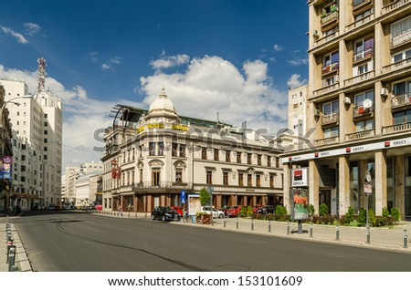 BUCHAREST, ROMANIA - SEPTEMBER 05: Victory Avenue on September 05, 2013 in Bucharest, Romania. The road got its name in 1878, following the Romanian victory in the Independence War.