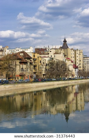 Bucharest - view over Dambovita river in a clear spring day. Can be used for postcards, brochures and other layouts