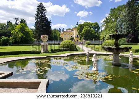 BUCHLOVICE, CZECH REPUBLIC - AUG 12 - baroque chateau Buchlovice with french gardens on august 12, 2013 in Buchlovice, Moravia, Czech republic. - stock photo
