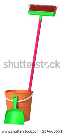 bucket and brush on a white background - stock photo