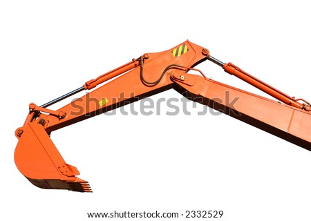Bucket and hand of a building dredge of orange color, Isolated (look similar images in my portfolio)