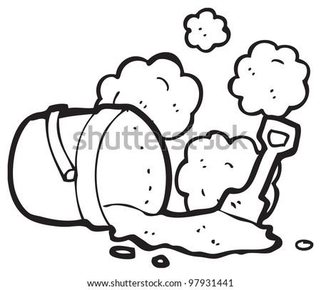 bucket and spade cartoon - stock photo