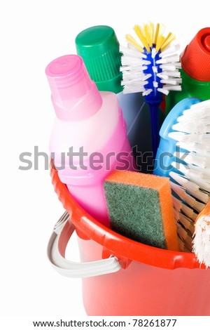 Bucket for cleaning with washing-up liquids - stock photo