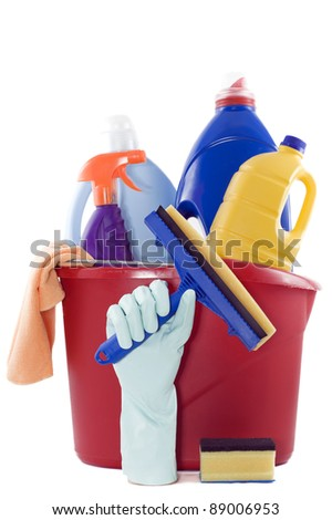 bucket full of cleaning products on a white background - stock photo