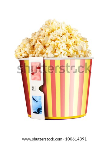 Bucket full of popcorn and 3D glasses isolated on white - stock photo