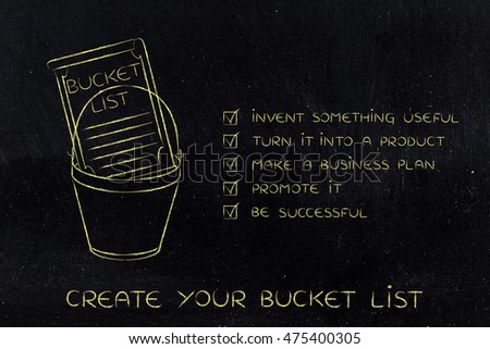bucket list of entrepreneurial success dreams: invent something useful to turn into a profitable product (checklist version)