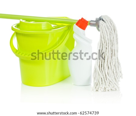 bucket mop and bottle