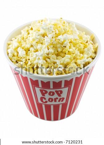 Bucket of popcorn - stock photo