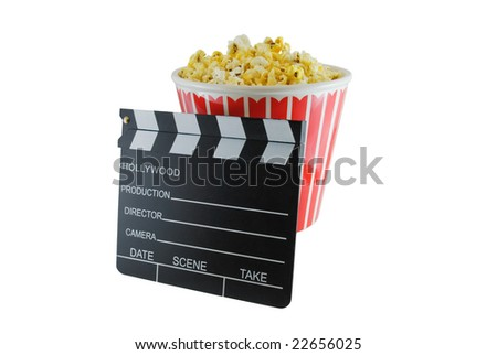 Bucket of popcorn and directors clapboard isolated on white