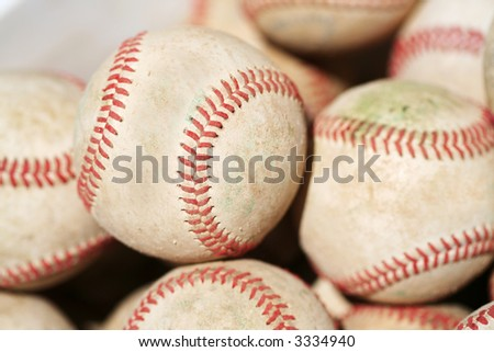 bucket of used baseballs, perfect for a background