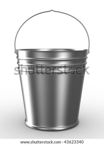 Bucket on white background. Isolated 3D image - stock photo