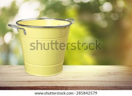 Bucket, Rusty, Water. - stock photo