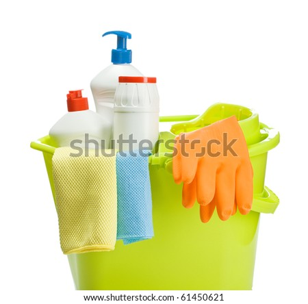 bucket with cleaners supplies - stock photo