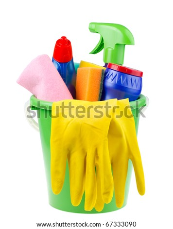 bucket with cleaning articles - stock photo