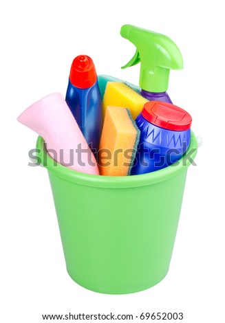 bucket with cleaning articles