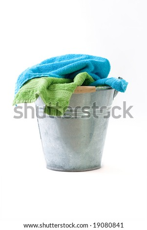 Bucket with Colorful towels
