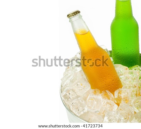 Bucket with ice cubes and two cold beverage on white background with space for text - stock photo