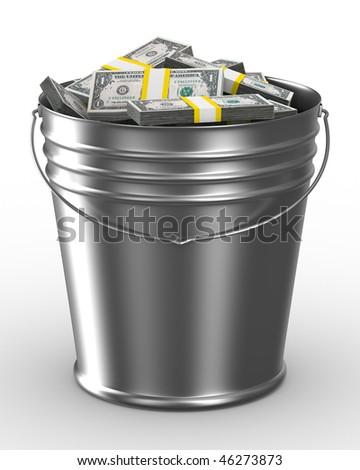 Bucket with money on white background. Isolated 3D image - stock photo