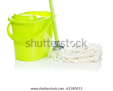 bucket with mop - stock photo
