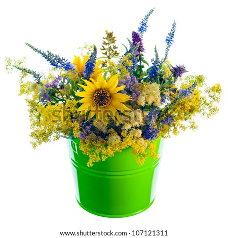 Bucket with wildflowers  on pure white. - stock photo