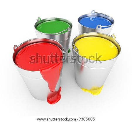 Buckets with a paint - stock photo