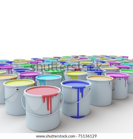 buckets with the paint on a white background - stock photo