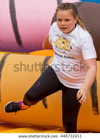 BUCKIE, MORAY, SCOTLAND - 2 JULY: This is a participant within the It's A Knockout fund raising competition held at Buckie on behalf of Logans Fund, Childrens Cancer Charity on 2 July 2016