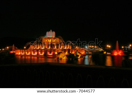 Buckingham Fountain at Night in Downtown Chicago - stock photo