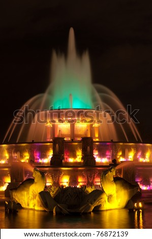 Buckingham fountain detail. - stock photo