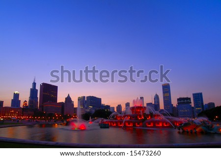 Buckingham Fountain dusk - stock photo