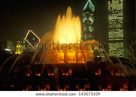 Buckingham Fountain in Grant Park at night, Chicago, Illinois - stock photo