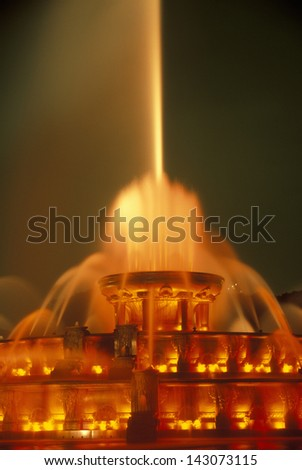 Buckingham Fountain in Grant Park at night, Chicago, Illinois - stock photo