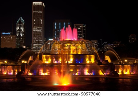 Buckingham Fountain in Grant Park Chicago - stock photo