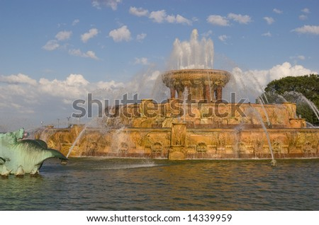 Buckingham Fountain in Grant Park, Chicago, Illinois - stock photo