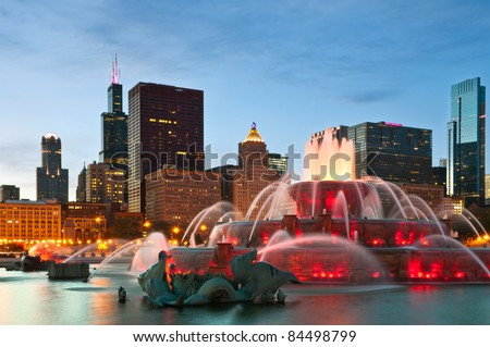 Buckingham Fountain in Grant Park, Chicago, Illinois, USA. - stock photo